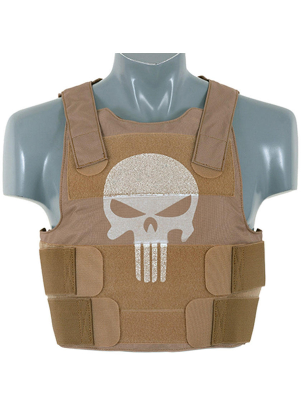 tan skull body armour carrier